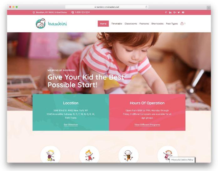 Bambini - giao diện wordpress trường mầm non tùy chỉnh đa dạng
