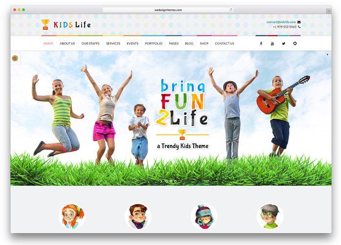 Kids Life - giao diện wordpress trường mầm non quốc tế